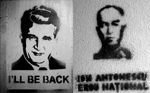 Nicolae Ceausescu - Ion Antonescu - Stencil - Graffiti Buchraest - Ziaristi Online