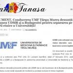 Conducerea UMF Târgu Mureș denunță presiunea UDMR și a Budapestei pentru separarea pe criterii etnice a Universității. Dan Tanasa INFO/DOC