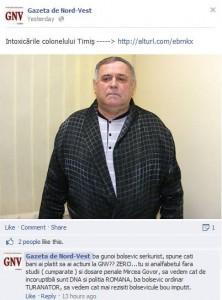 Gazeta de Nord Vest - Intoxicarile colonelului Timis