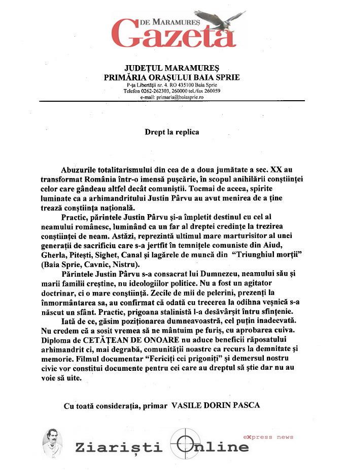 Primaria Baia Spre catre Institutul Elie Wiesel despre sfintenia Parintelui Justin Parvu - Gazeta de Maramures si Ziaristi Online