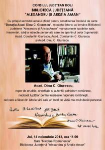 Profesorul Dinu Giurescu - Biblioteca Judeteana Aman - Craiova