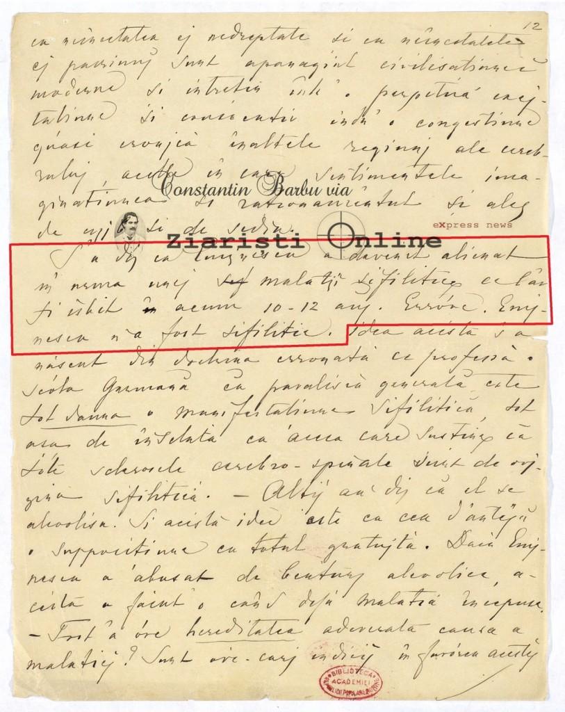 Eminescu nu a avut sifilis - Document - Autopsie - via Constantin Barbu si Ziaristi Online
