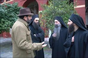 Iulian Capsali cu monahii de la Vatopedu Areta, Daniil si Haralambie