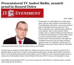 Andrei Badin purtator de vorbe Tismaneanu Pacepa - mita DNA SRI Duicu Ziarul Financiar
