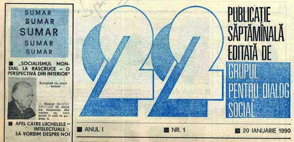 Primul numar al revistei 22 cu fondatorul GDS Silviu Brucan 20 ian 1990