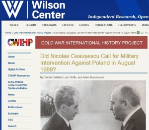 Ceausescu - Gorbaciov - Deletant - Larry Watts - Brakowski - Woodrow Wilson Center