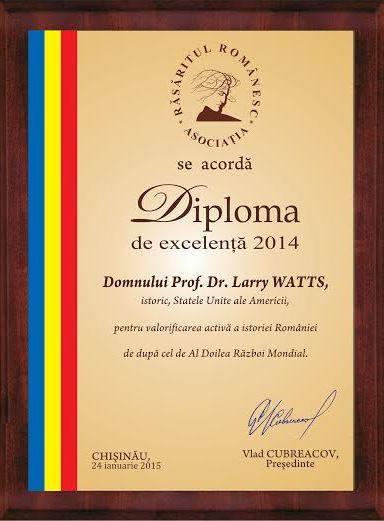Diploma dr Larry Watts 2014 Basarabia