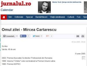 Omul Zilei Cartarescu in Jurnalul National