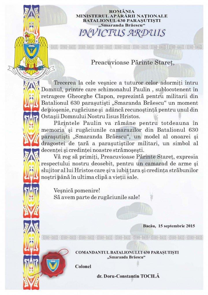 Mesaj condoleante - P. Paulin Clapon - Petru Voda -Batalionul Smaranda Braescu