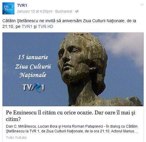 Batjocorirea lui Eminescu la TVR cu Patapievici, Boia, Mihailescu si Catalin Stefanescu - 15 ianuarie 2016
