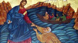 Mantuitorul nostru Iisus Hristos mergand pe ape