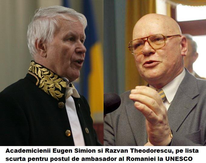 Academicienii Eugen Simion si Razvan Theodorescu - Ambasador UNESCO Paris